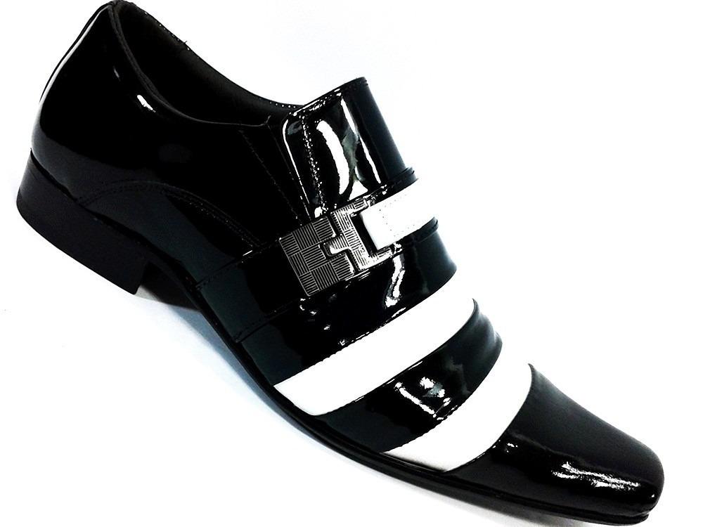300bc366d7 Sapato Social Masculino Couro Legitimo Verniz Brilhoso Dhl | DHL  CALÇADOS